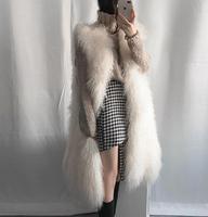Women clothing Korean coat long vest wool faux fur Slim warm vest new wild plus fur vest High quality ladies party overcoat