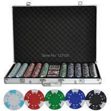 PK-5002 1000pcs chips with case, Clay 14g Poker Chips insert metal, five colors