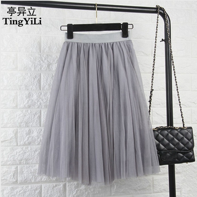 TingYiLi Womens High Waist Tulle Skirt