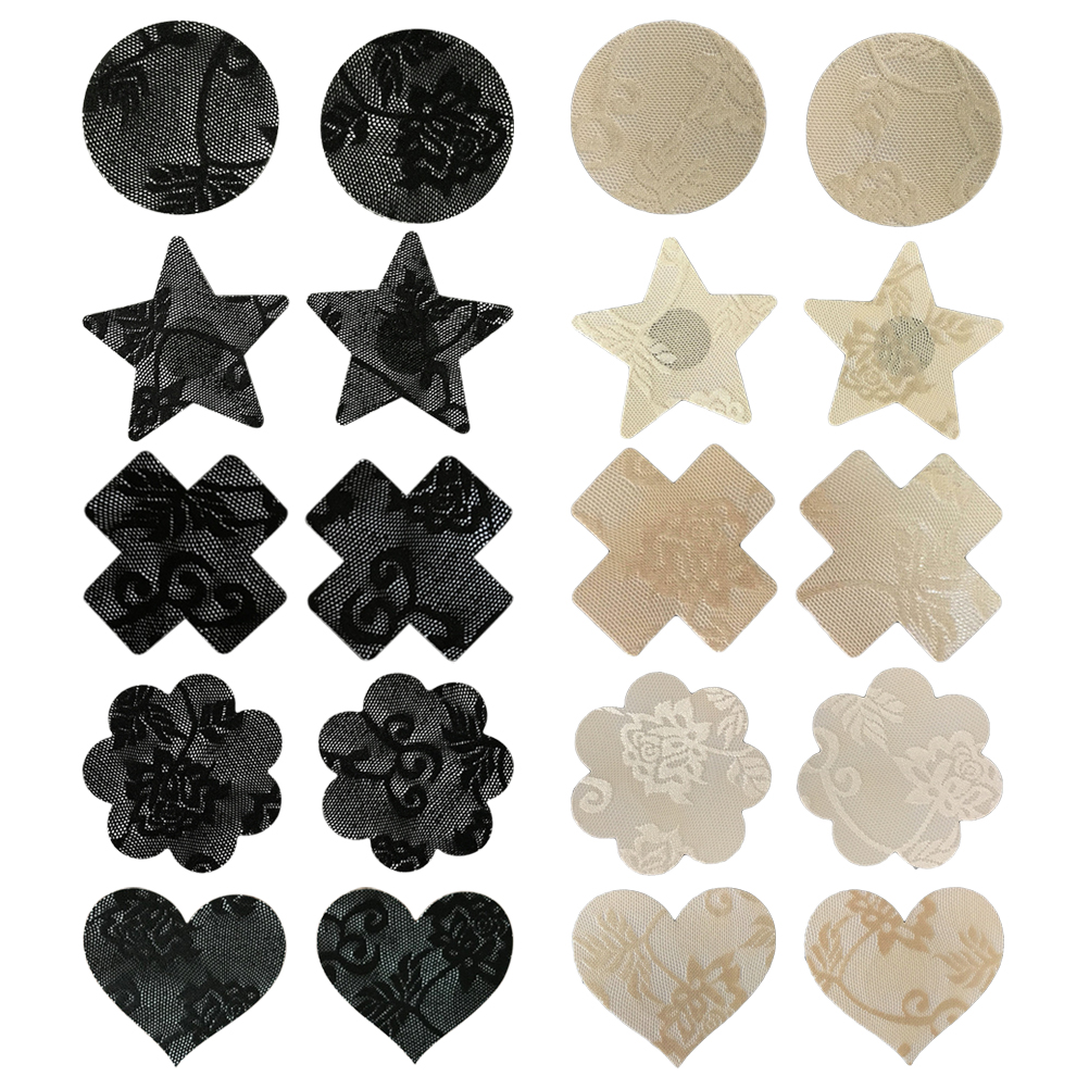 10 Pairs Disposable Adhesive Breast Pasties Diverse-Design Nipple Stickers Cover Invisible Breast Concealer Pad(Random Types)