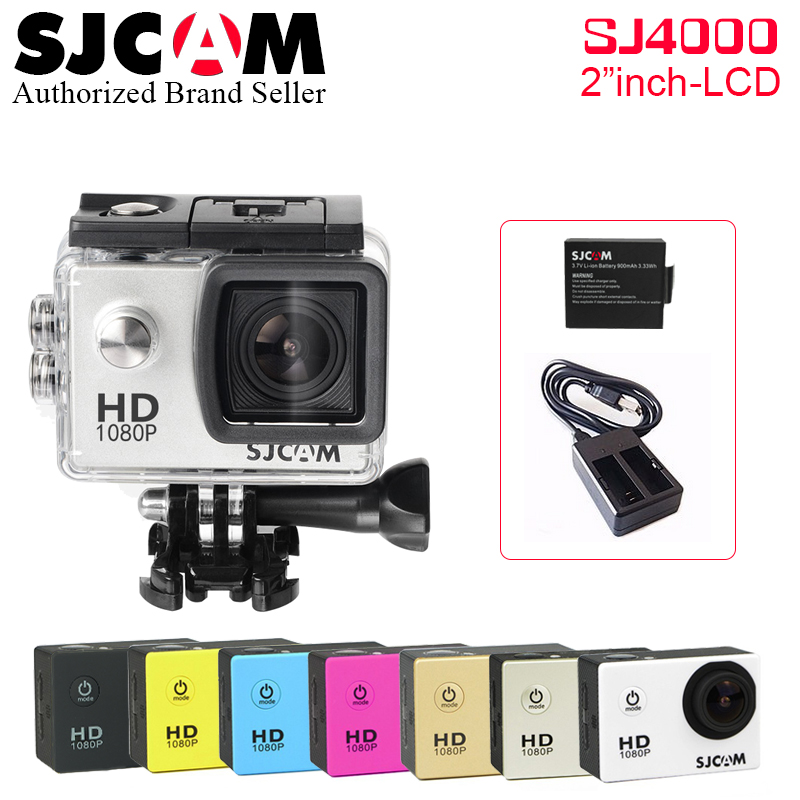 [Extra Battery + Charger] Original SJCAM 2.0 SJ4000 Basic Action Camera Waterproof 1080P Helmet Camera HD Sport DV SJ 4000 Cam