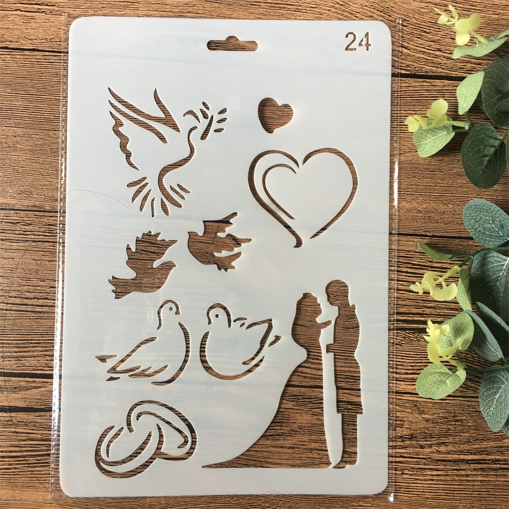 26cm Wedding Couple Dove Heart DIY Craft Layering Stencils Painting Scrapbooking Stamping Embossing Album Card Template