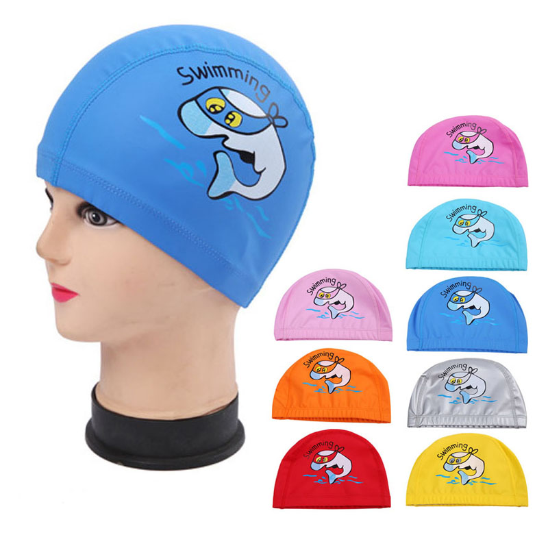 PU Fabrik Cute Cartoon Animal Dolphin Kids Children Swimming Cap Waterproof Protect Ears Long Hair Boys Girls Swim Pool Caps Hat