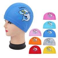 PU Stoff Niedlichen Cartoon Tier Delphin Kinder Kinder Schwimmen Kappe Wasserdichte Schützen Ohren Lange Haar Jungen Mädchen Schwimmen Pool Caps hut