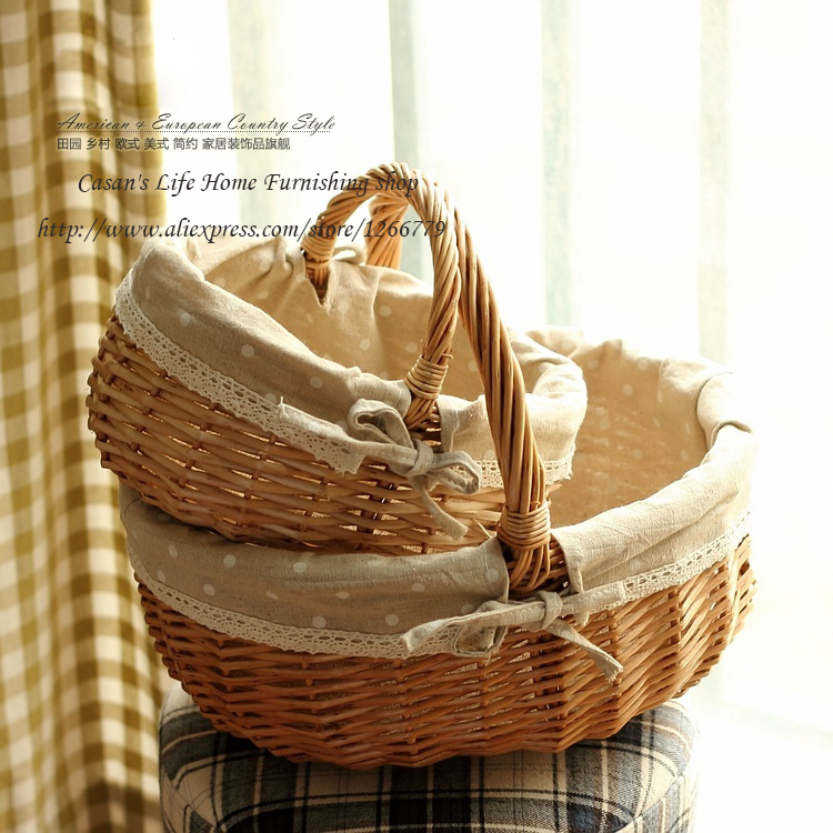 A set of two pastoral style wicker lace fabric ellipse storage basket,bread basket/picnic basket/Home decorative storage basket