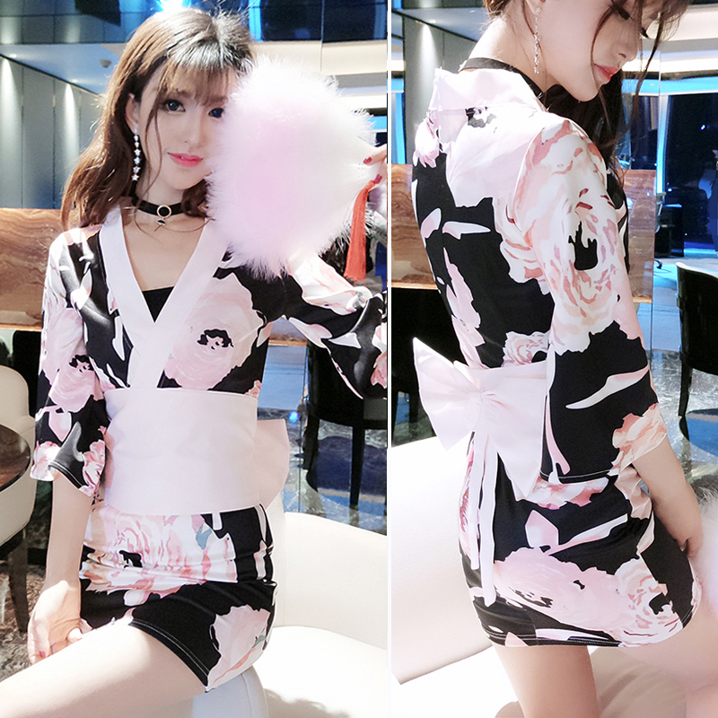 2019 Japanese Kimono Yukata Silk Satin Dress For Women Floral Peacock Full Sleeve Nightgown Sexy Kimono Yukata Tunic Japan