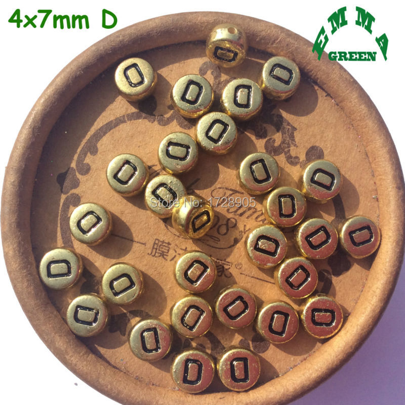 Gold Letter Beads Antique Alphabet Letter Gold Beads Acrylic 4 7 mm 50 pcs Alphabet Initial Single Letter Beads in Beads from Jewelry Accessories