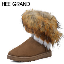HEE GRAND 2016 Winter Warm High Long Snow Boots Artificial Fox Rabbit Fur Leather Tassel Women's Shoes Size 35-41 xwx219(China)