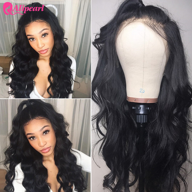 Pelucas de pelo humano frontal de encaje Pre desplumado 130% 150% 180% pelucas de onda de cuerpo brasileño de densidad 250% para mujeres Remy AliPearl pelo
