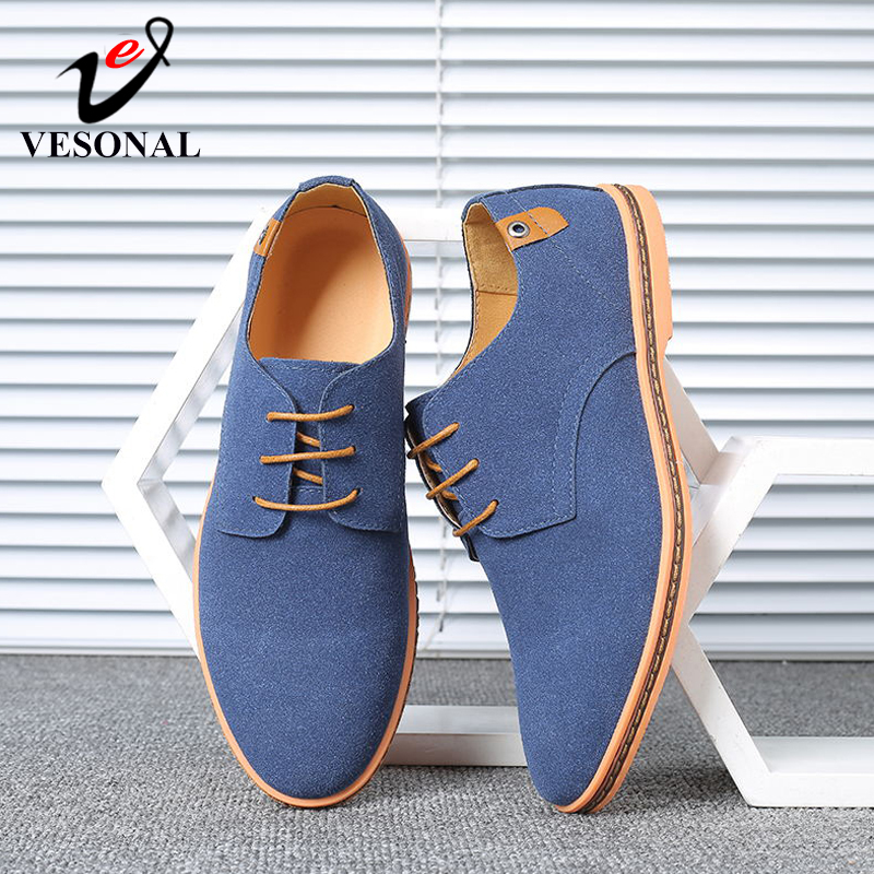 VESONAL Brand 2019 Spring Suede Leather Men Shoes Oxford Casual Classic Sneakers For Male Comfortable Footwear Big Size 38-46(China)