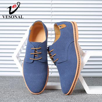 VESONAL 2020 wiosna zamszowe skórzane buty męskie Oxford Casual klasyczne trampki dla mężczyzn wygodne obuwie duży rozmiar 38-46 tanie i dobre opinie Krowa Zamszu RUBBER A998 Lace-up Oksfordzie Stałe Dla dorosłych Oddychające Wiosna jesień Przypadkowi buty