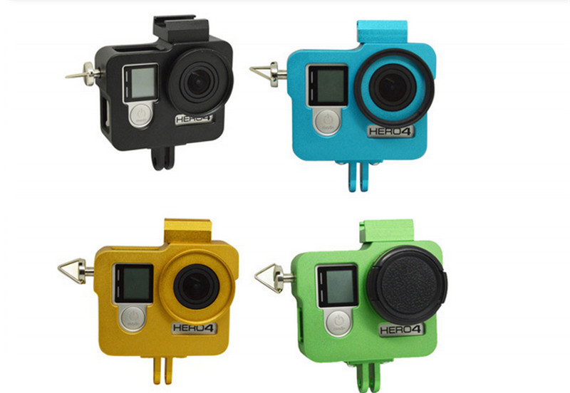 CNC Go pro Aluminum Housing shell case Gopro 4 cover with Screws Lens Cap for GoPro Hero 3 plus 4/3+/3 Camera Accessories  GP255