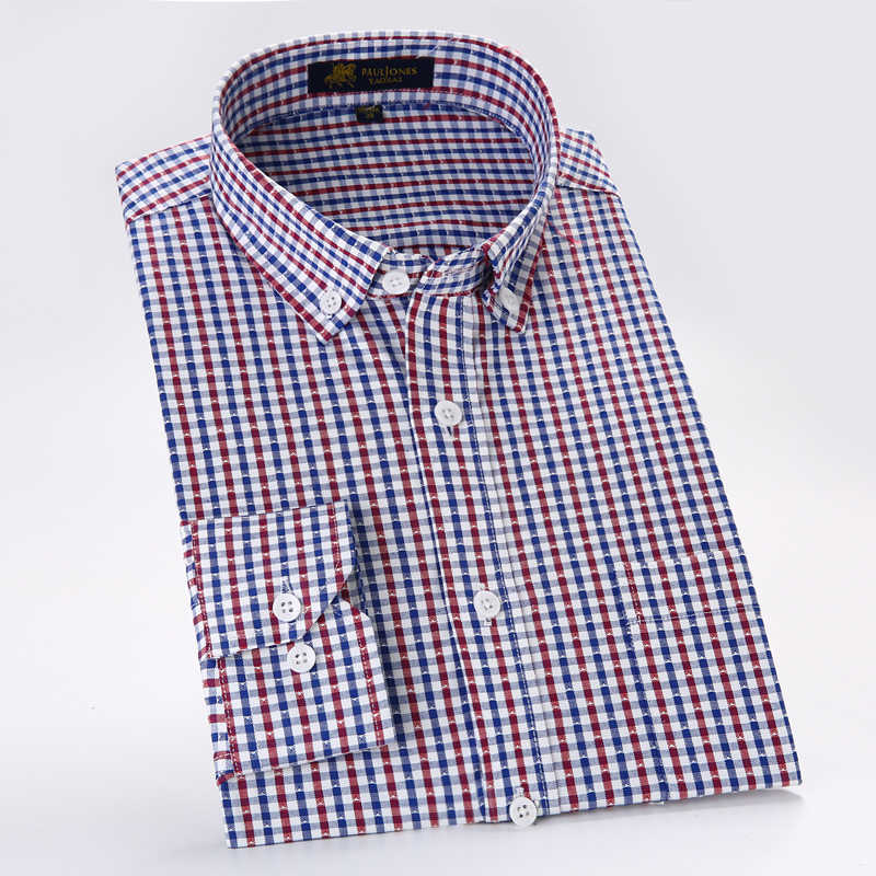 男性のオックスフォードカジュアルシャツ非鉄チェック柄社会シャツ長袖男性ドレスシャツクラシックスタイル用男性