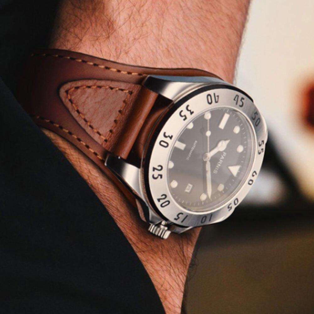 43mm Parnis Schwarz Weiß Zifferblatt Uhr Männer Casual Leder Automatische Mechanische Uhren Saphir Kristall Uhr Herren Präsentieren-in Mechanische Uhren aus Uhren bei  Gruppe 3