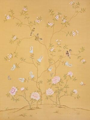 Расписанный вручную шелковый обои дерево с цветами и птицами ручная роспись стены бумажные обои диван/телевизор/спальня backgound - 4