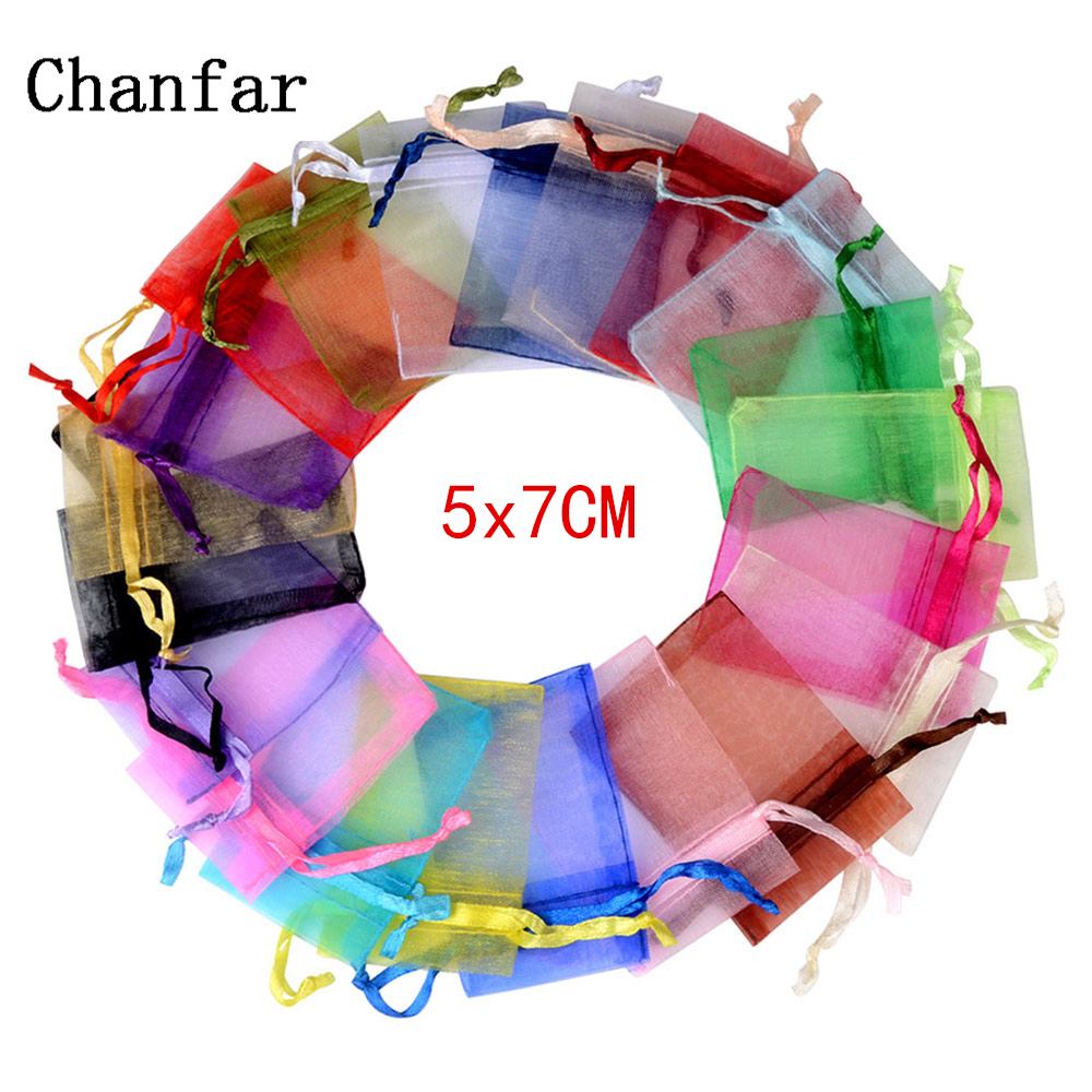50pcs 5x7CM Colorful Decoration Drawstring Packaging Pouches&Bag Small Organza Bags Jewelry For Gift Engagement Color Selection