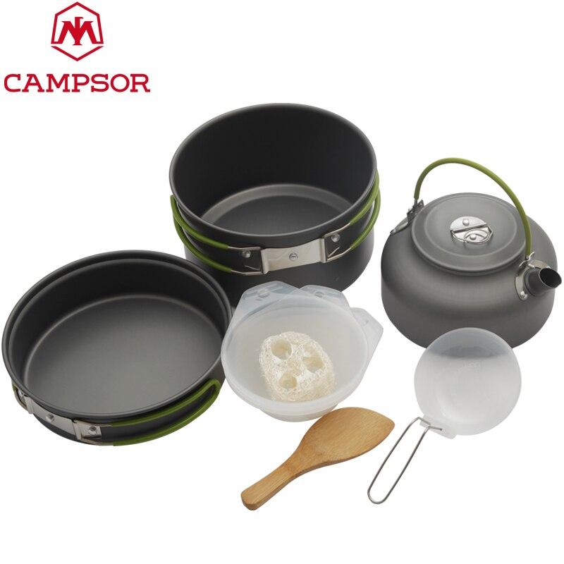 2-3 Kişi Taşınabilir Outdoor Cooking Set Pot Kase Çaydanlık Kahve Kettle Seti Tencere Sofra Kamp Piknik Yürüyüş Kaplar