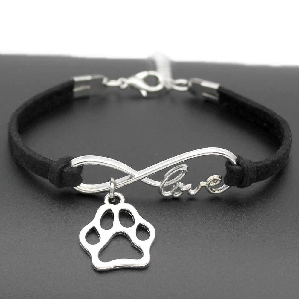 1pcs infinity handmade Women Stylish  Love Pets Dogs Lover Cat Animal Bear Paw Charms Pendant Bracelet Friendship Gift 7442