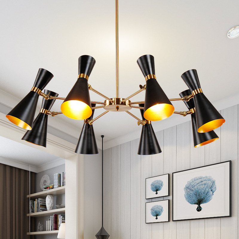 3/6/8 Heads Led Nordic creative living room dining room bedroom post-modern personality industrial wind horn chandelier 6 e27 heads nordic post modern designer originality personality art living bed room cafe fashion led chandelier home decor light