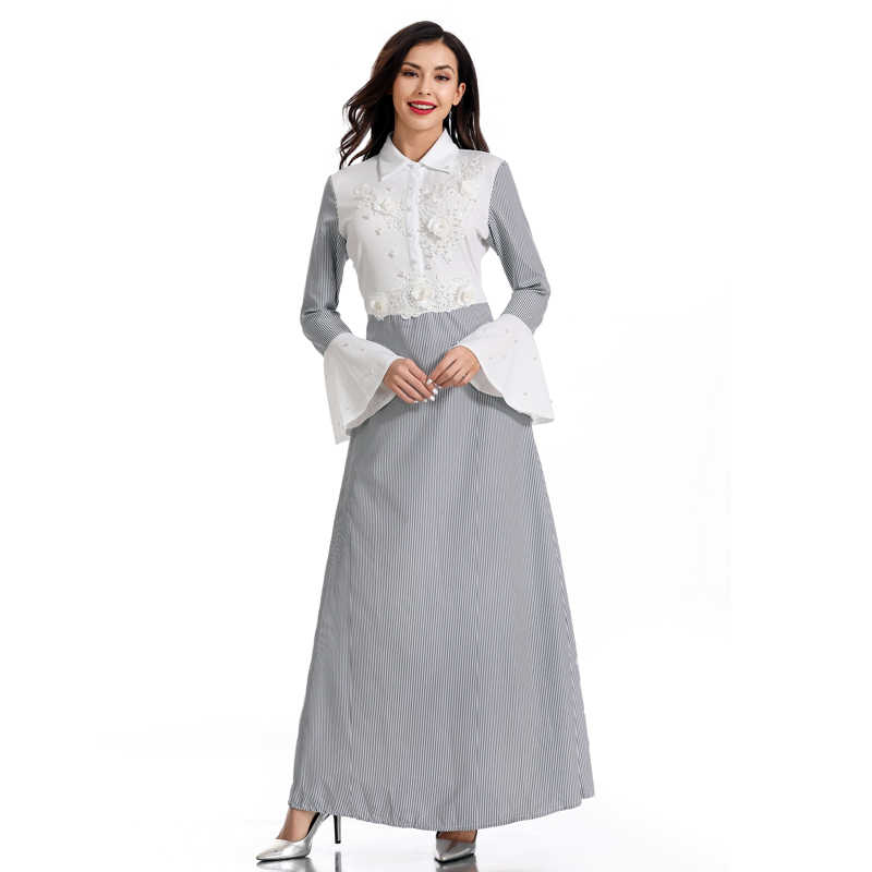 Vestidos Дубай Кафтан платье в полоску абайя, арабское женские мусульманские платья Рамадан Восточный халат из марокена платья хиджаб одеяние мусульмане Femme