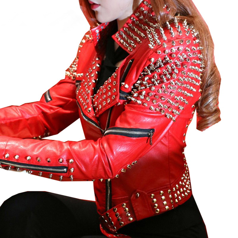 Red leather jacket women punk rivets studded motorcycle for Red leather shirt for womens