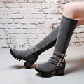 British Style 2017 Vintage Waterproof Platform Thick High Heel Martin Boots Fashion Buckle Womens Knee High Boots Botas O2126