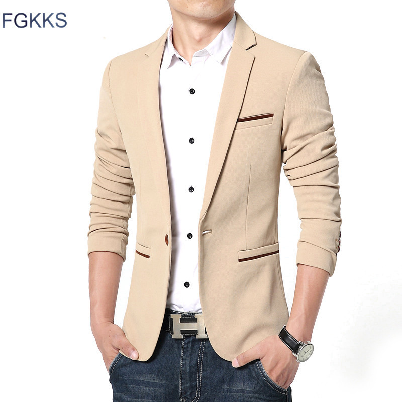 FGKKS Men Blazer Suit Slim-Fit Cotton High-Quality Spring-Fashion-Brand Luxury New Terno