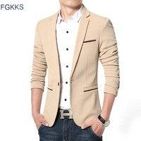 FGKKS Neue Ankunft Luxus Männer Blazer Neue Frühlings Mode Marke Hohe Qualität Baumwolle Slim Fit Männer Anzug Terno Masculino Blazer männer