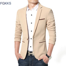 FGKKS New Arrival Luxury Men Blazer New Spring Fashion Brand High Quality Cotton Slim Fit Men Suit Terno Masculino Blazers Men cheap Full Single Button Smart Casual Spandex Cotton Wool Men Blazers Regular Flannel