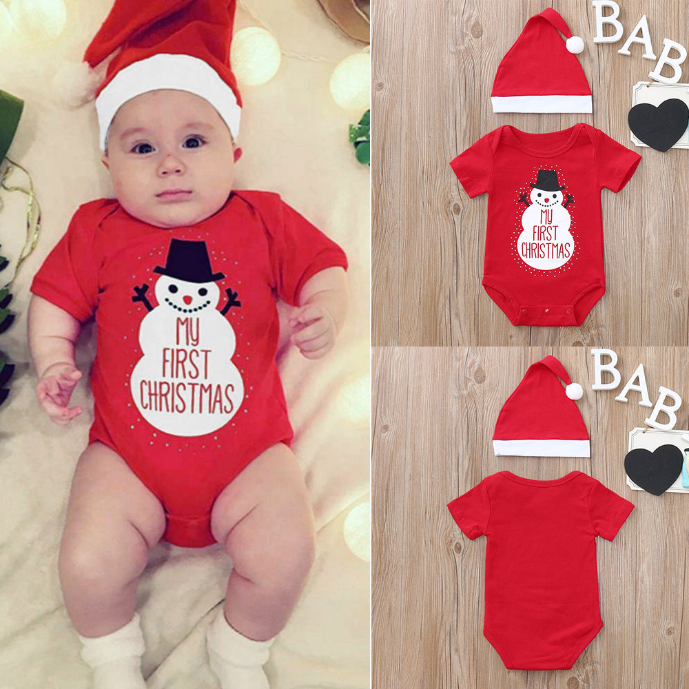 Christmas Clothes Baby Rompers Toddler Baby Cartoon Snowman Letter Print Romper+Hat 2PCS Infant Baby Romper Clothes Set Outfits