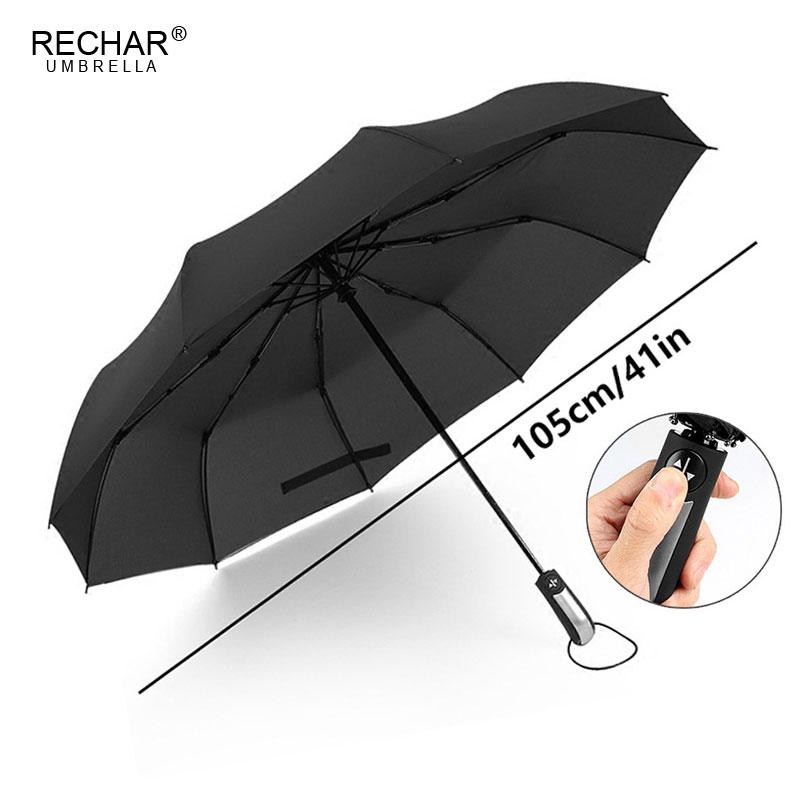 RECHAR Marque Vent Qualité Résistant Parapluie Pluie Femmes Automatique 10Rib De Luxe Large Coupe-Vent De Golf Hommes D'affaires Pour Voiture Parapluie