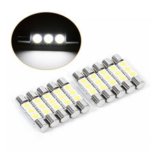 10Pcs/Set 3-SMD 29-30mm 6641 Fuse LED Bulb Vanity Mirror Light Sun Visor Lamp White(China)