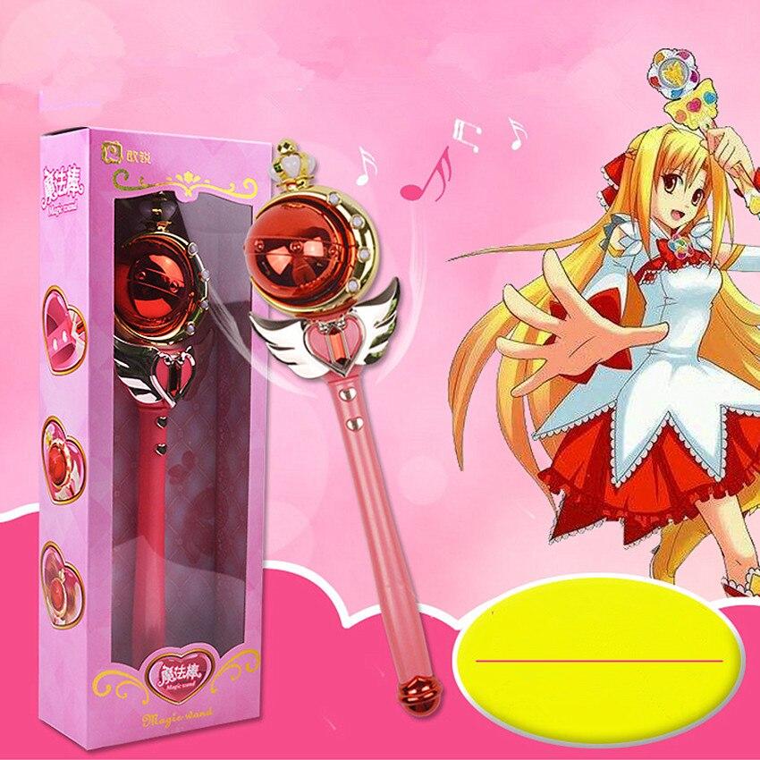 New Girl Toys Anime Cosplay Sailor Moon Wand Musical Magic Wand Kids Toys Henshin Rod Glow Stick Musical Spiral Heart Moon Rod