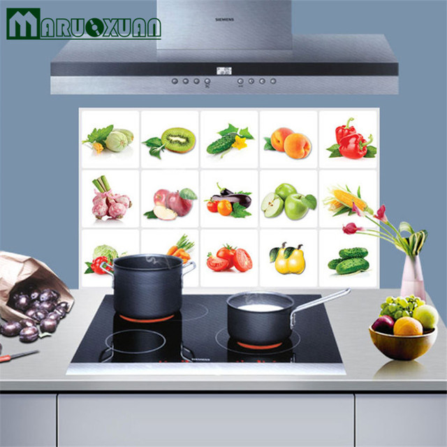 Maruoxuan Hot Fruits Vegetables Kitchen Aluminum Foil Waterproof Wall Stickers Home Decor Decals