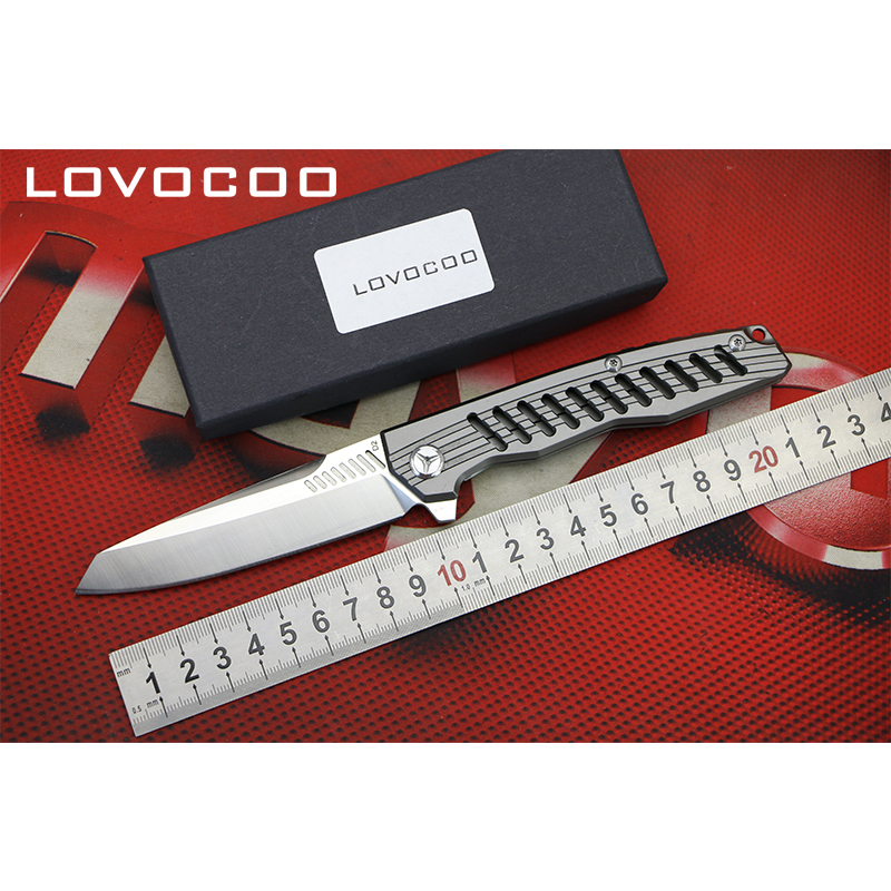 LOVOCOO SHUTTLE Flipper folding knife D2 blade Titanium handle Outdoor camping hunting pocket fruit knives EDC tools Survival green thorn made dark flipper folding knife d2 titanium blade g10 handle outdoor survival hunting camping fruit knife edc tools