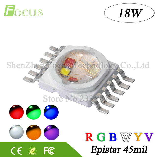 10pcs Supper Bright 18W RGBWYV Stage Light 45mil All Color 12 pin For 18 Watt Red Green Blue White Yellow Purple 1 3 5W LED Chip
