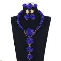 African Royal Blue Jewelry Sets Beads Jewelry Sets Dubai Women Pendan Necklace Set Indian Nigerian Wedding Bridal Jewelry WE145