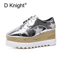 22.5cm-25cm 2017 Patent Leather Square Toe Fashion Casual Shoes Stars Lace-up Height Increasing Women Wedge Heels Platform Shoes cyabmoz women high heels platform shoes wedge genuine leather height increasing lace up low top party ladies shoes zapatos mujer