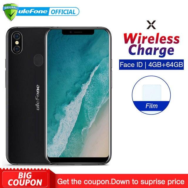 """Ulefone X 5,85 """"HD + Smartphone MT6763 Octa Core Android 8,1 4 GB + 64 GB 16MP trasera Dual cam Face ID 3300 mAh del teléfono carga inalámbrica"""