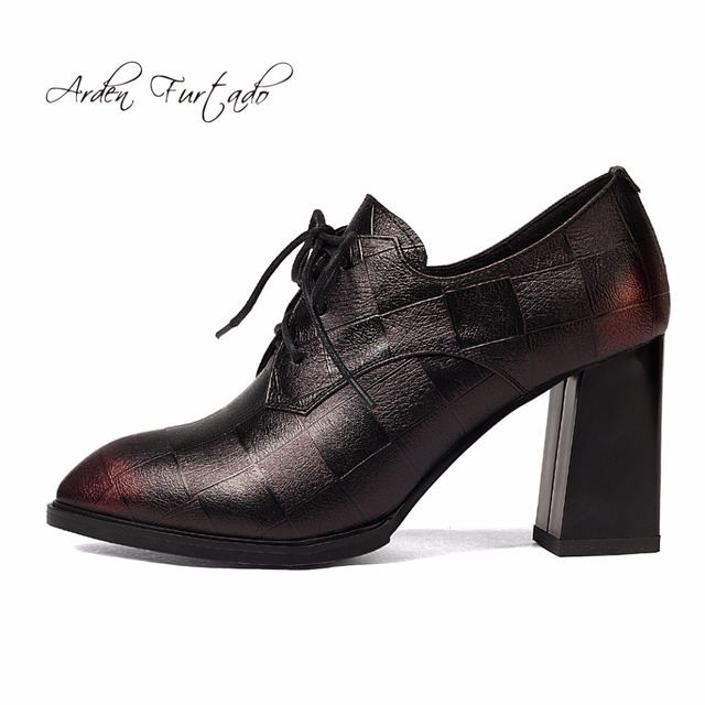 Arden Furtado 2018 spring autumn new style shoes for woman high heels 8cm pumps  genuine leather casual cross tied dress shoes e547ca4bd411