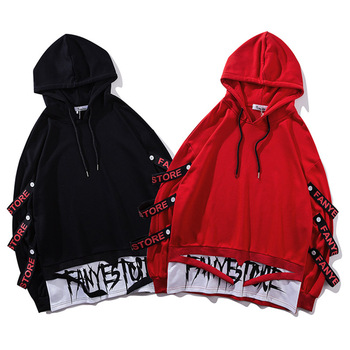 Fake 2 Pieces Ribbons Hooded Pullover