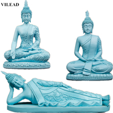 Handicraft art and crafts Blue Resin Statue Thailand Buddha Figurines Miniatures Hindu Buddhism Sculpture India Fengshui Vintage