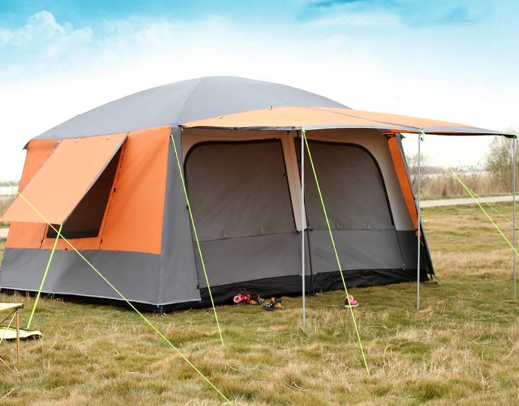 Ultralarge double layer 8-12 person double layer waterproof windproof high quality super strong camping family party tent alltel high quality double layer ultralarge 4 8person family party gardon beach camping tent gazebo sun shelter