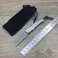 Damascus steel pocket knives camping knife folding Pocket Folding Knife with computer carved Handle utility knife