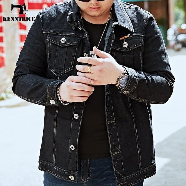 Kenntrice Black Denim Jacket Men Plus Size Jacket Military Style