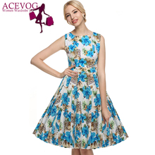 ACEVOG Women Dress Retro Vintage 1950s 60s Rockabilly Floral Swing Summer Dresses Elegant Bow-knot Tunic Vestidos Robe Oversize