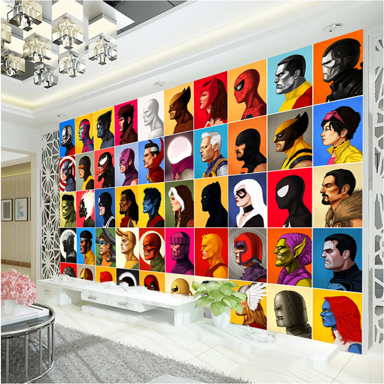 bedroom superhero wall mural avengers spiderman america comics captain decor wallpapers covering children dormitory desktop