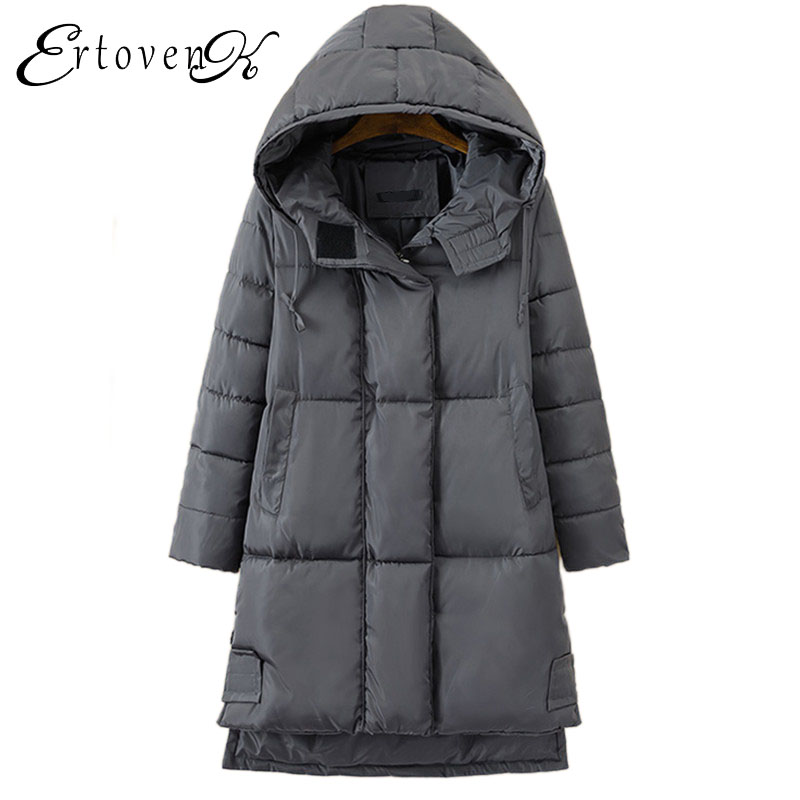 Plus size Women Cotton Padded Coat Loose Winter parkas New 2017 Hooded overcoat Female Thick warm Long section Outerwear C200 winter new women loose coat fashion cute parkas hooded jacket overcoat long section casual down cotton large size coat cm1560