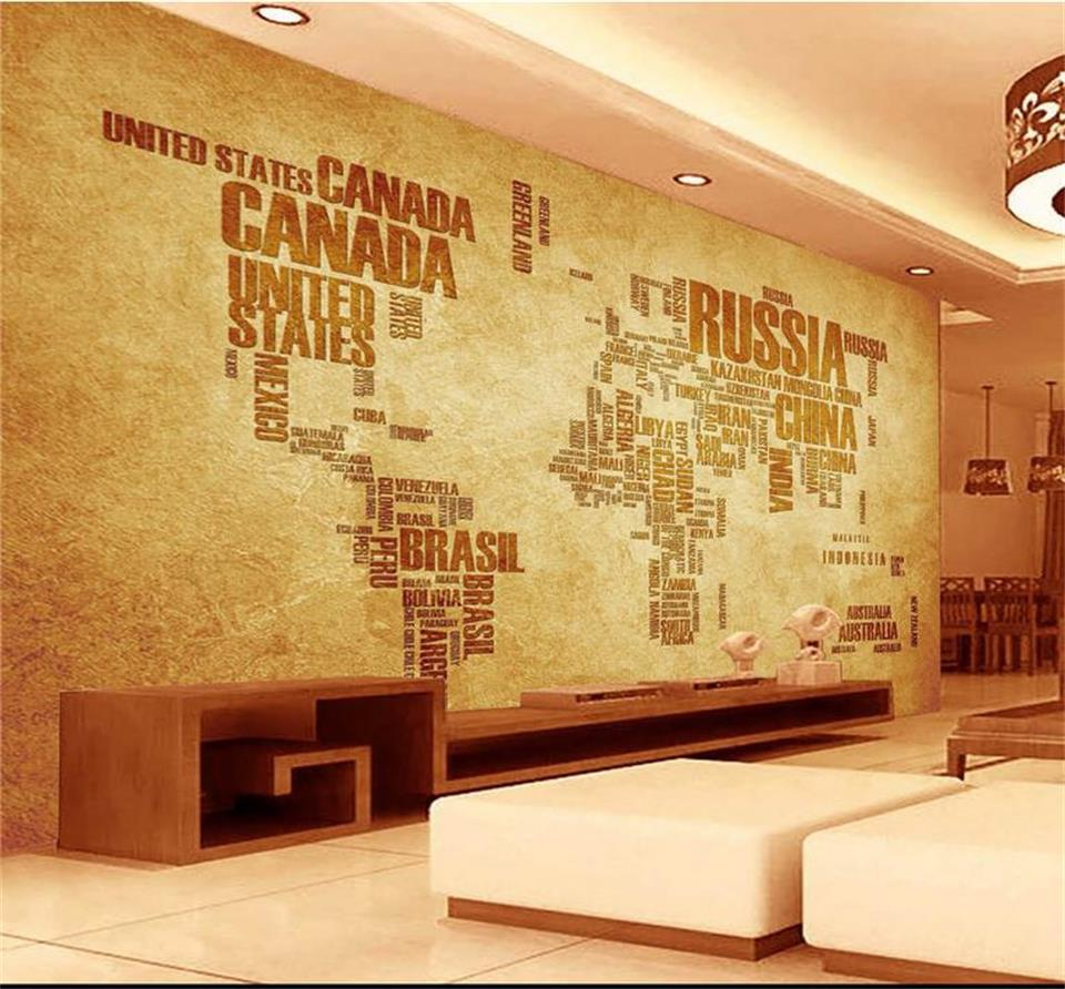 3d photo wallpaper custom living room mural retro kraft paper world map painting TV background non-woven wallpaper for wall 3d