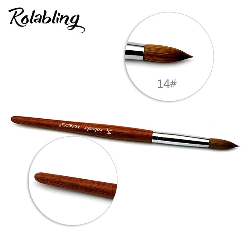 Rolabling 14# Nail Art brush 100% Kolinsky Sable Pen Rosewood Brush for Acrylic Nail brush for Nail Art Drawing Pen
